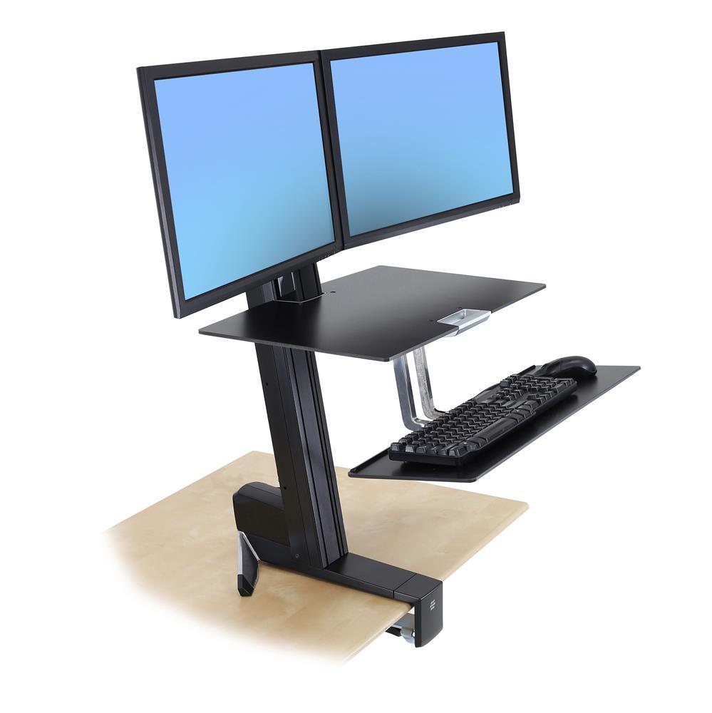 Postazione Ergonomica Per Computer workfit-s, doppio con superficie di lavoro+